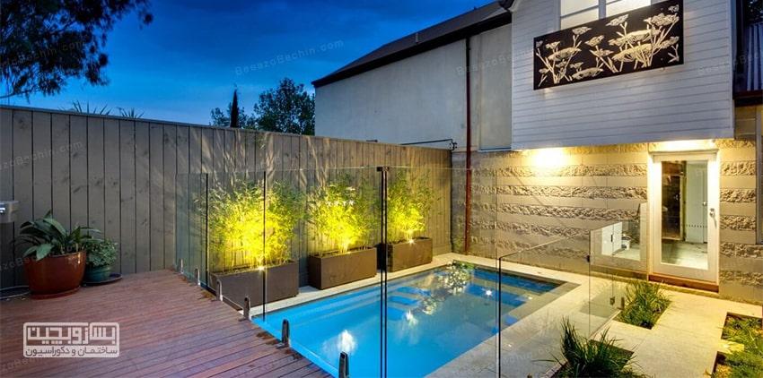 طراحی استخر جدید و کوچک با دیوار شیشه ای