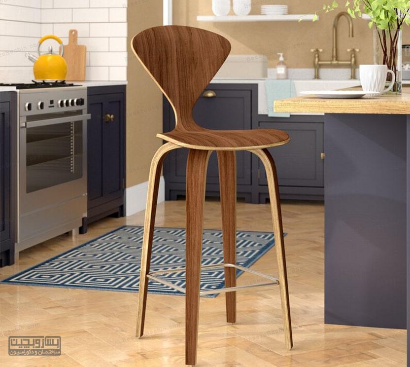 بهترین صندلی اپن چوبی