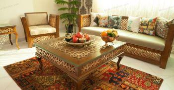 تزیین تخت سنتی در خانه به سبک منزل ایرانی و قدیمی