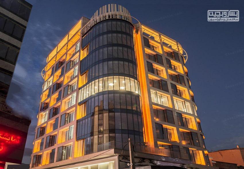 نورپردازی در نمای ساختمان مسکونی