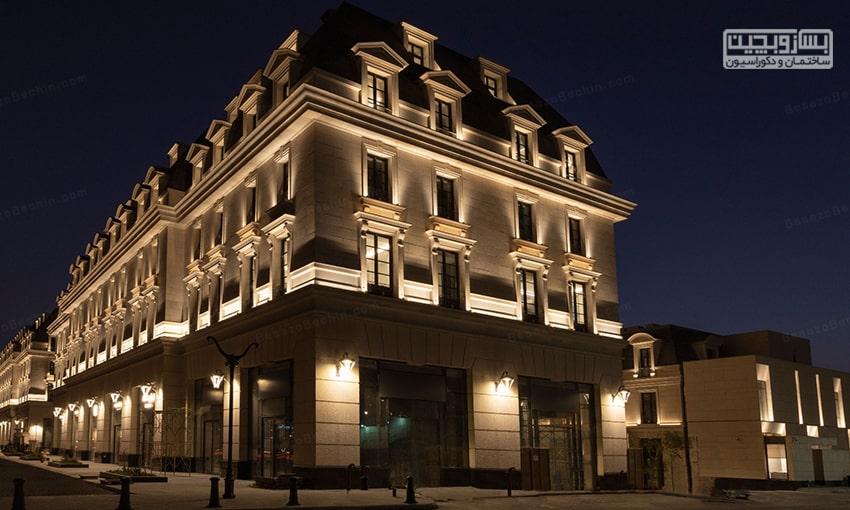 نورپردازی نما ساختمان تجاری