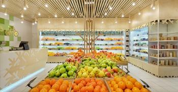 دکوراسیون داخلی مغازه میوه فروشی شیک + دکور قفسه