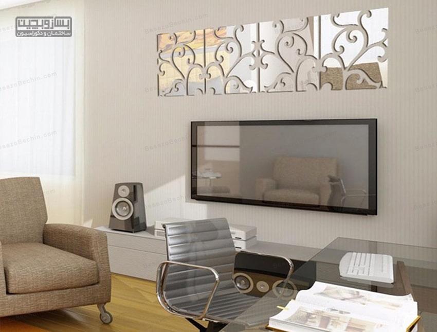 طراحی دیوار پشت تلویزیون با سنگ آنتیک