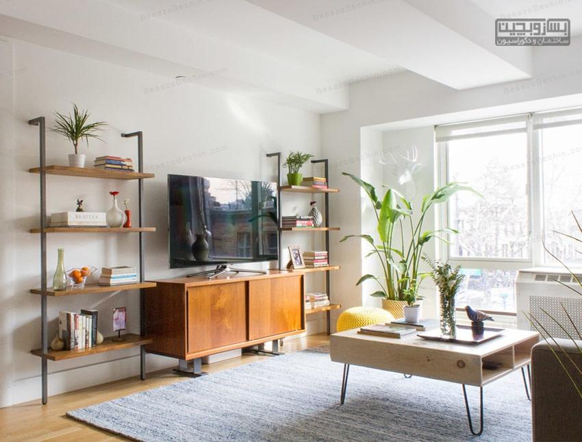 طراحی دیوارپشت تلویزیون باسنگ آنتیک