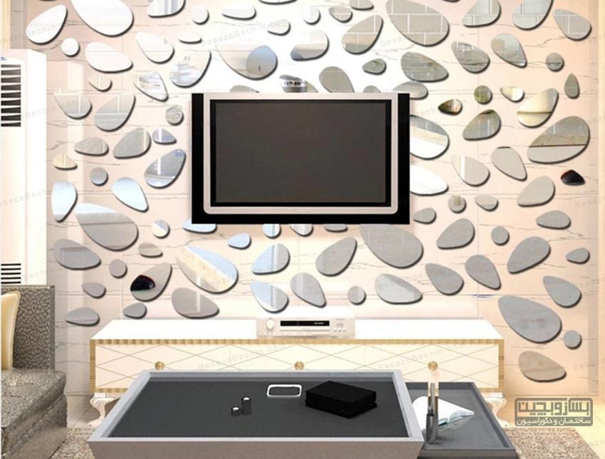 دکور پشت تلویزیون با آینه