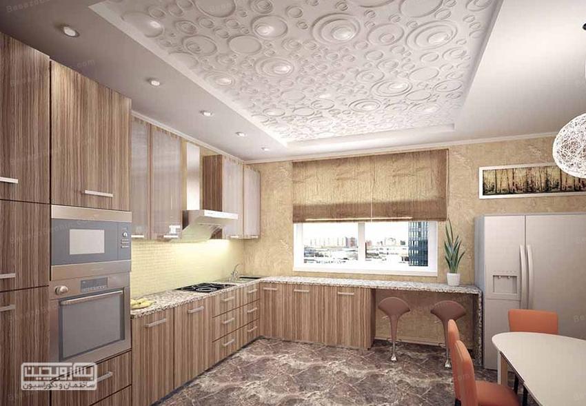 سقف کاذب آشپزخانه با چوب