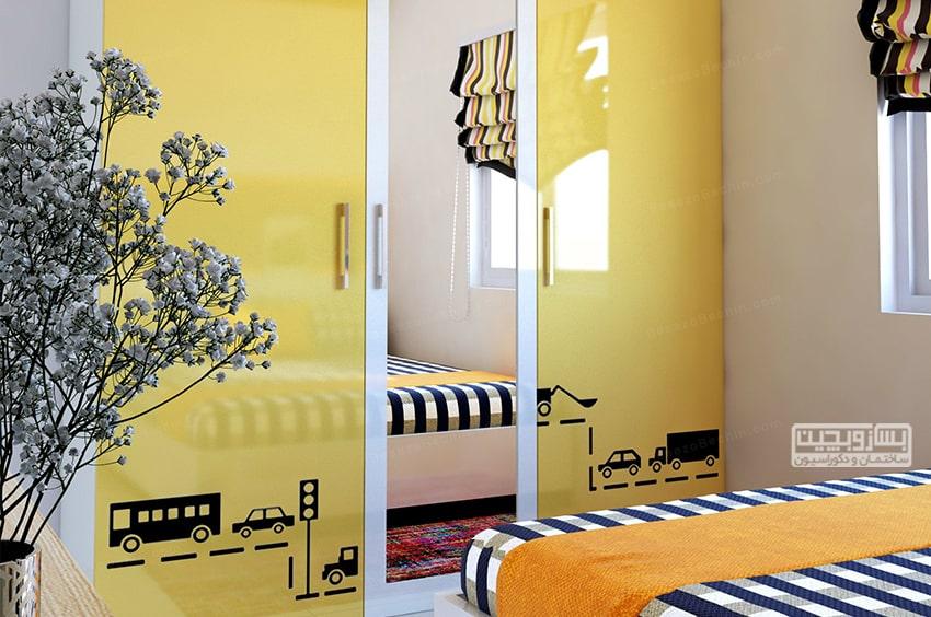 رنگ زرد برای کمد دیواری اتاق خواب