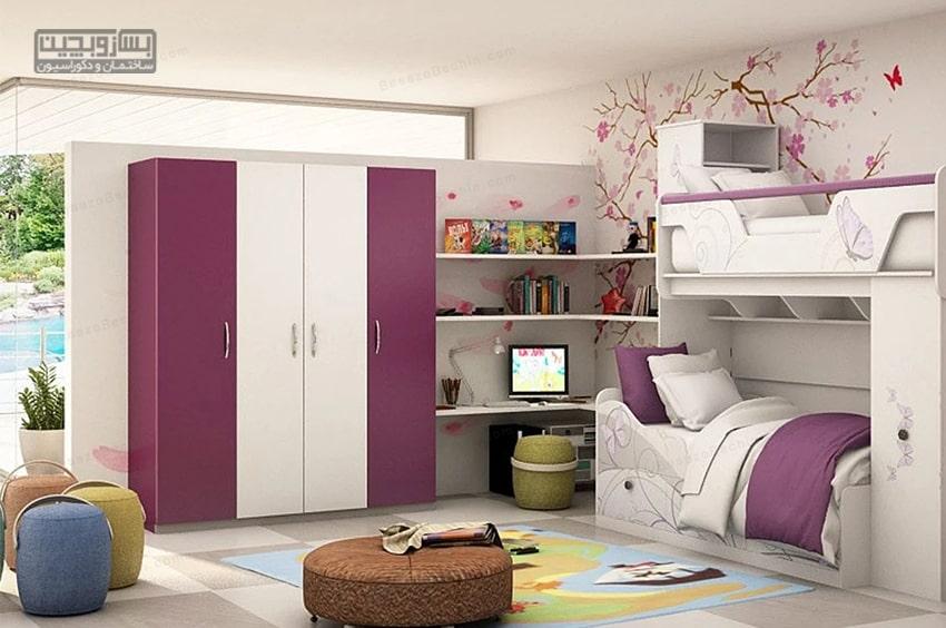 رنگ بنفش برای کمد دیواری اتاق کودک