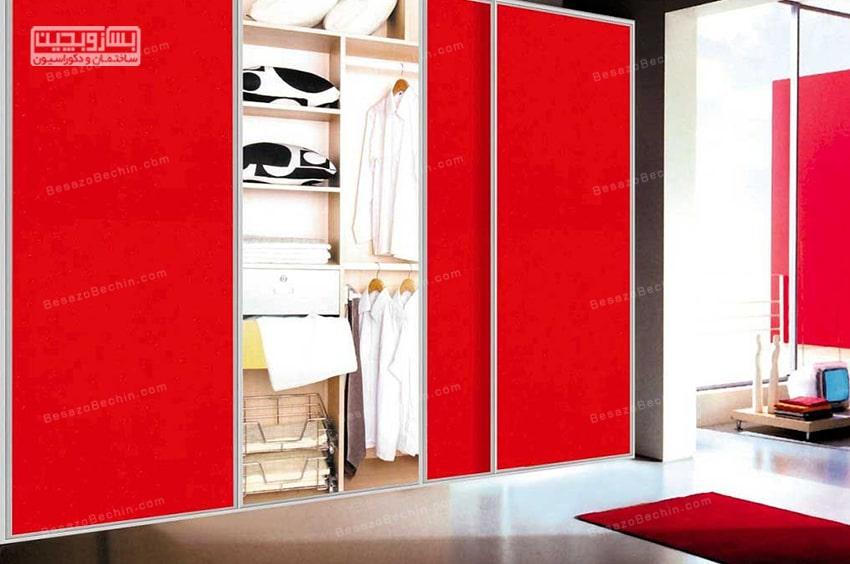 کمد دیواری قرمز رنگ