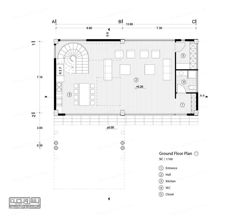 نقشه خانه ویلایی 60 متری کوچک