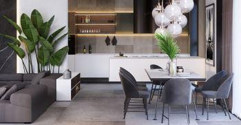 چیدمان مبل و میز ناهارخوری در پذیرایی مستطیل شکل